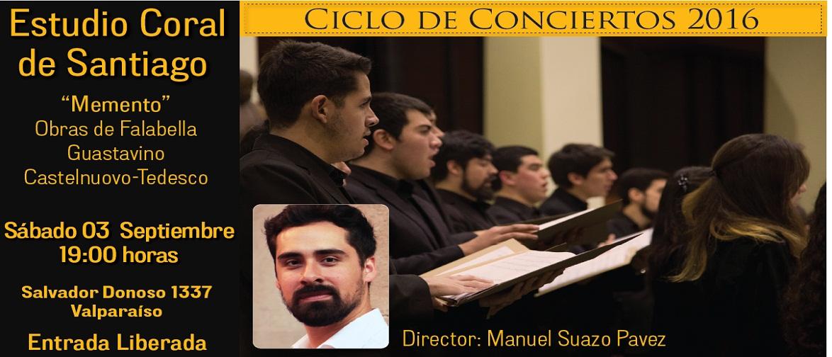 Concierto de Estudio Coral de Santiago, sábado 3 de septiembre a las 19:00 horas. Entrada liberada.