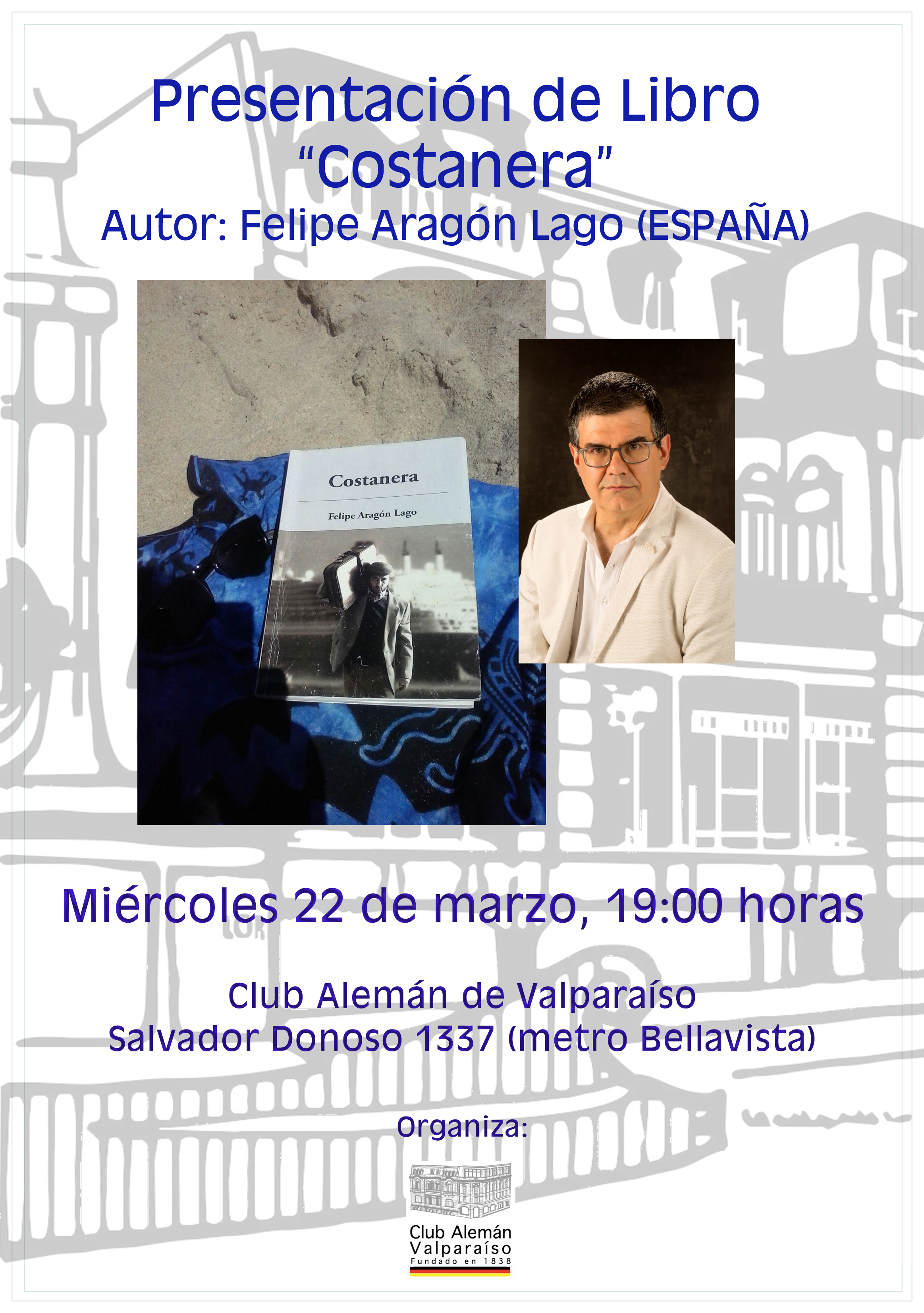"""Presentación de libro """"Costanera"""" de Felipe Aragón (España)"""