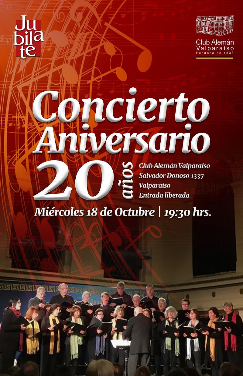 Afiche concierto Coro Jubilate 20 aniversario